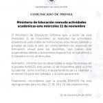 Actividades Escolares se reanudan el miércoles 11 de noviembre